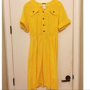 Sunshine Yellow A Line Shirt Dress
